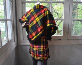 Tartan Plaid Kilt and Matching Cape Poncho/Vintage 1950s 1960s/Traditional Scottish Kilt Set/XXS Youth Size