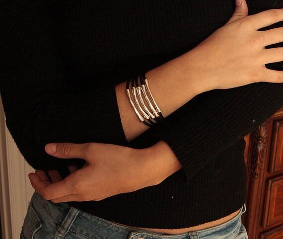 Cuff bracelet,leather cuff,women cuff,women bracelet,women leather cuff,large bracelet,designer bracelet,uno de 50 style, summer gift