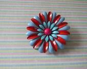 Vintage Red, Blue, Turquoise, Pink Vintage Enameled Brooch
