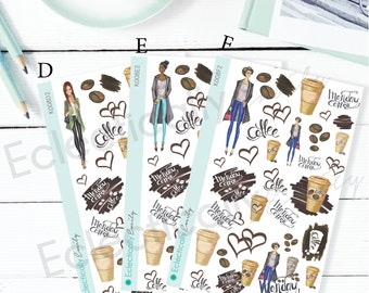 Monday's are for Coffee Decoration Planner Stickers | Planner Stickers | Coffee Stickers for Erin Condren Life Planner | K008 Girls 2