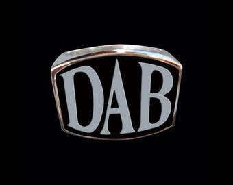 Stainless Steel DAB Letter Ring - Free Re-Size/Shipping