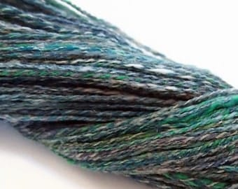Lace/Light Fingering weight Handspun yarn - Wool and Firestar - 430 yards of handspun 2-ply yarn - 3.75 ounce skein - Emerald City