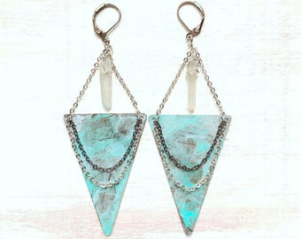 Long Boho Triangle Earrings with Quartz