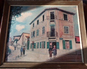 Vintage French Folk Art Lithographic Print of Maurice Utrillo's French Street Scene painted in  1929 in Rustic Wood Frame, Vintage Shape
