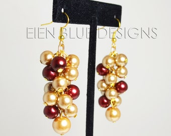 Gold Pearl Earrings, Gold & Wine Pearl Cluster Earrings, chunky pearl earrings, red and gold bridesmaid earrings, red and gold wedding