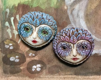 Reserved for Heidi - Hand painted owl girl pins