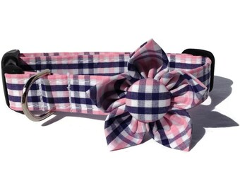 Dog Collar and Flower Set in Navy and Pink Plaid for Small to Large Dogs