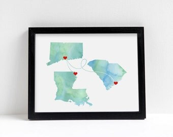 Any Three States Wedding Gift Personalized State Watercolor Series Art Print Long Distance Map Art Engagement Bridal Shower Water Color Gift