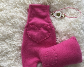 up cycled hot pink cashmere knit heart newborn girl romper, headband & posing pillow set, knit romper set, ready to ship newborn prop