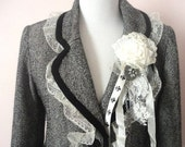 ON SALE Tweed Jacket, Herringbone Tweed Altered Couture, Lace Decorated Vintage Upcycled Jacket, Eco Friendly Wool Jacket, Boho Blazer, Funk