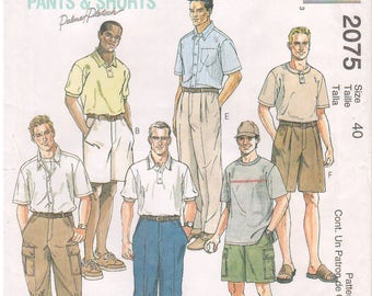 1999 - McCalls 2075 Sewing Pattern Mens Waist Size 40 Perfect Fit Pants Shorts Palmer Pletsch Cargo Flat Front Pockets Side Elastic