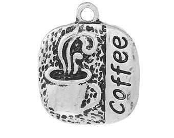 3 Coffe Charms - Antique Silver - 20x17mm - Ships IMMEDIATELY from California - SC1337
