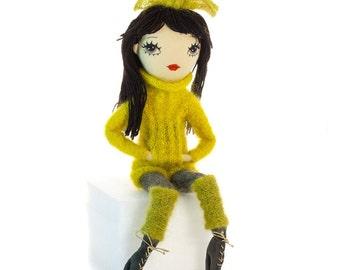Black hair doll, fabric doll, soft art doll, cloth doll, embroidered doll, textile doll, knitted doll, stuffed doll, plushie, fashion doll
