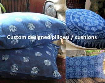 Custom Made Pillows, Double Sided Indigo Batik 16, 20, 30 Round / Square or Lumbar Cushions, Add Fringe Or Pom Poms Free Worldwide Shipping