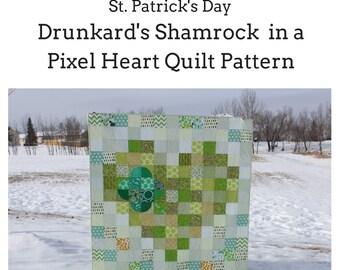 St. Patrick's Day Quilt Pattern Drunkard's Shamrock in a Pixel Heart