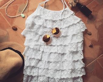 Halter Eyelet White Lace Top Boho Beach Hippie Style Crop Top