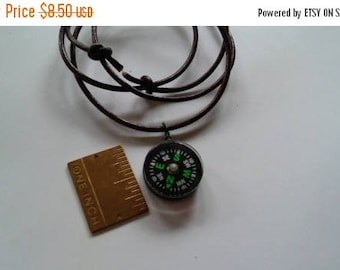 ON SALE at Etsy Magnetic Floating Compass Necklace,26in Adjustable Leather Cord,12 to 26in,or Wear as A Wrap Bracelet