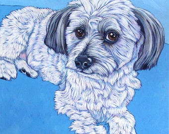 "Custom Pet Portrait Canvas Painting in Acrylic Paint 18"" x 18"" of Your Dog, Cat, or Other Animal. Sides Painted Ready to Hang OOAK Artwork."