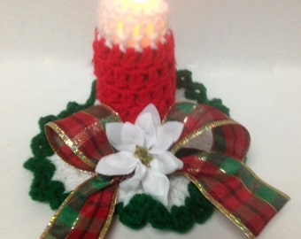 Holiday Candle Crochet Pattern- Uses LED tealight candle-crochet a flameless candle decoration with this easy to make PDF crochet pattern