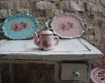 Dollhouse Miniature Shabby Chic Vintage Style Pink Metal Coffee Tea Pot with Detailed Roses Motif