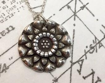 Silver Flower, Sterling Silver, Floral, Antiqued, Round, Flower