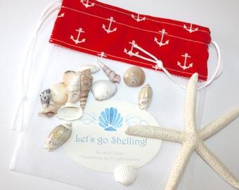 Sea Shell Bags READY TO SHIP, Drawstring SeaShell Bag, White Anchors on Red Fabric and Mesh Beach Bag, Shelling Bag, Shell Collecting Bag