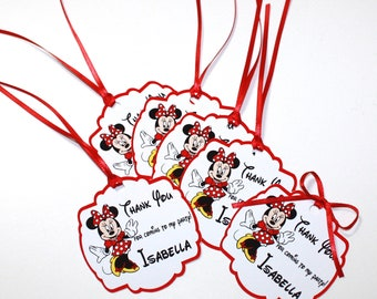 Minnie Mouse Set of 12 Personalized Thank You Party Favor Tags, PINK or RED Birthday Party, Minnie Mouse, Party Decorations, Ships Fast