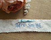 Personalised garter, wedding garter, embroidered name and date, bridal garter