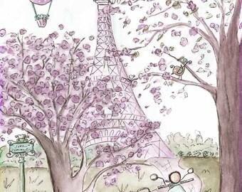 Purple Eiffel Tower Nursery Print, Nursery Wall Art, Paris Theme, Eiffel Tower, Cherry Blossom Tree, Lavender Baby Nursery Wall Art, 6 Sizes