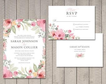 Spring Blooms Wedding Invitation & RSVP Card (Printable) by Vintage Sweet