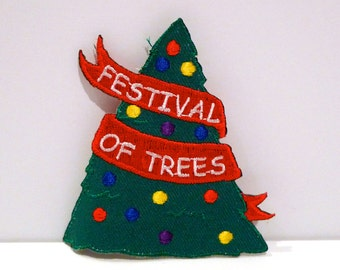 Christmas Tree Patch Vintage Festival of Trees Patch Green Decorated Holiday Tree Embroidered patch Girl Scout Embroidery 1990s Winter