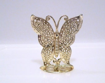 Butterfly Earring Display Stand Vintage Torino Earring Tree Holder Gold Metal Butterfly Display Jewelry Collection 1970s Gardener Cute