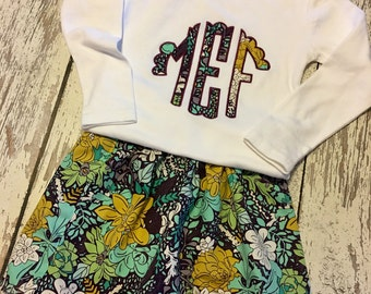Monogrammed shirt and skirt set, purple floral skirt set, winter floral, winter floral monogram, scallop monogram set, girls skirt set