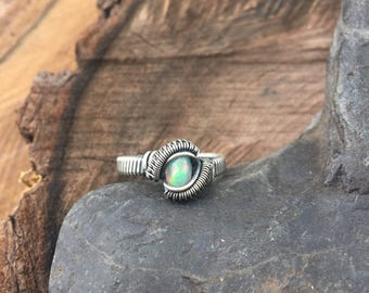 Wire Wrapped Ring - Size 7.5 Opal Ring - Wire Wrap Ring - Heady Wire Wrap - Opal Ring - Opal Jewelry, Welo Opal Ring - Size 7.5 Ring