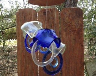 blue, clear, GLASS WINDCHIMES from RECYCLED bottles,  garden decor, wind chimes, mobiles, musical, windchimes