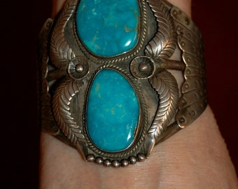 "3 1/4"" Tall Gorgeous Old Vintage Navajo Tungsten Turquoise Bracelet Heavy 86 Grams Hallmarked"