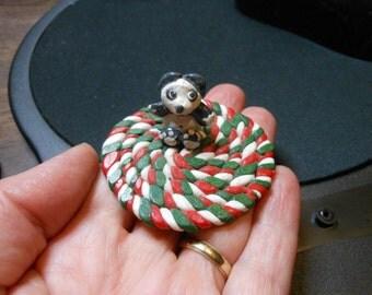 Panda on a Rug-OOAK- Polymer Clay Panda and Rug
