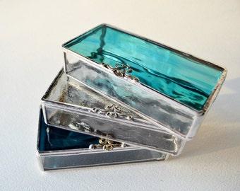 Set Of Three  Glass Boxes, Glass Box, Glass Display Box, Glass Jewelry Box, Jewelry Box, Gift For Girlfriend, Bridesmaid Gift