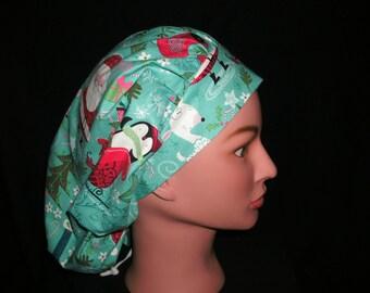 christmas bouffant scrub hat