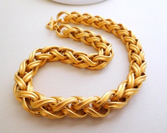 Retro Vintage Heavy Chunky Brushed Gold Modernist Chic Braid Chain Necklace JJ8