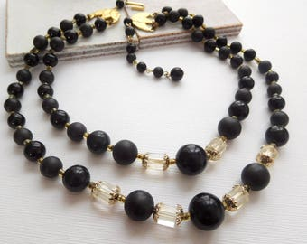 Vintage Japan Layered Double Strand Black Clear Crystal Bead Choker Necklace N32