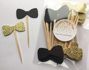 """24 Bow Tie Cupcake Toppers 