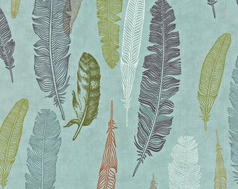 Moda Fabric - Nomad Collection Blue Feathers