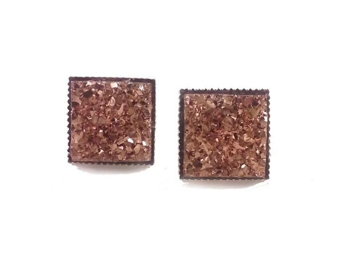 Square Copper Druzy Stud Earrings   Post Setting