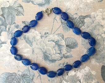 Pretty Vintage Necklace with Deep Royal Blue Glass Beads