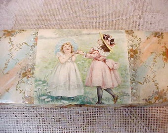 Charming Victorian Era Celluloid Covered Wooden Glove Box-Little Girls Wearing Bonnets