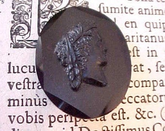 Lovely Antique Czech Black Glass Mourning Brooch Cameo