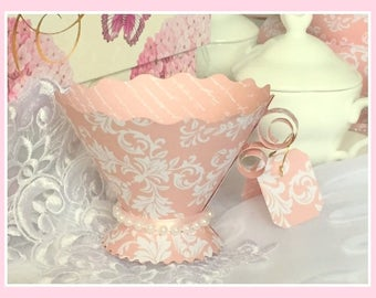 Paper Teacup Favors, Pink Damask Paper Teacup Favors, Wedding Bridal Baby Birthday Tea Favors, Candy Cups, Teaparty, Alice in Wonderland Tea