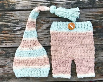 crochet baby boy hat set FREE Domestic Shipping