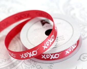 Red XOXO Satin 3/8 -- 4 feet -- Amy Tangerine -- American Crafts